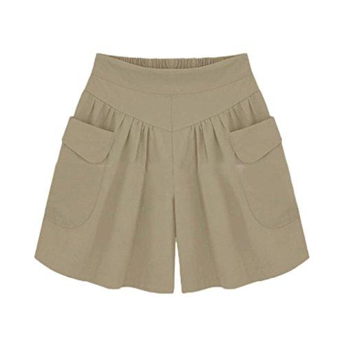 Women Shorts Plus Size LMMVP Ladies Summer Loose Pockets Shorts Elastic Casual Hot Pants Beach Wide Leg Short Pants