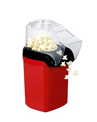 AIQQ Popcornmaschine-Heißluft Popcorn Maker/Fett Fettfrei Ölfrei, Weites-Kaliber-Design mit Messbecher und Abnehmbarem Deckel ohne Fett & Öl, inkl Messlöffel 1200W/rot