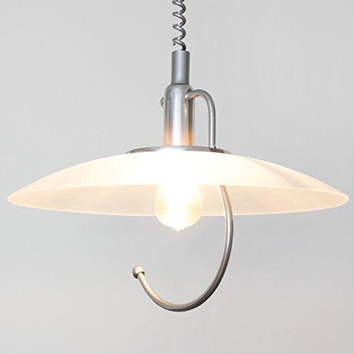 Praktische Hängeleuchte in Silber Zeitloser Stil inkl. 1x 12W E27 LED 230V Pendelleuchte aus Metall & Glas höhenverstellbare Hängelampe für Küche Pendellampe Lampe Leuchten Beleuchtung innen -