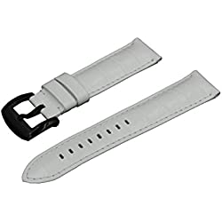 Crocodile Grain Padded Italian Calfskin Leather Watch Band With Brushed Black Buckle