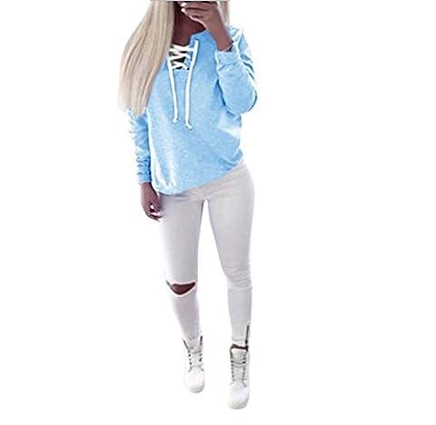 Hipzop Femmes automne Pull à manches longues Tops à lacets Chemisier Sport Casual T-shirt (L, Bleu)