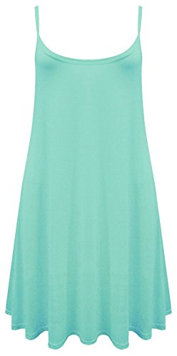 Damen Maxikleid, ärmellos Cami Strappy Lang Swing Vest Top Mini Kleid Plus Größe Mint