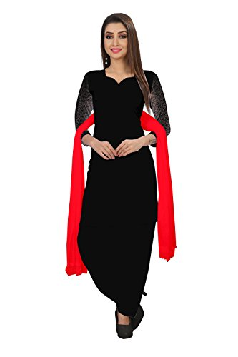 Sutariya Fashion Women's Cotton Salwar Suit (Ec001_Black_Free Size, Unstitched)
