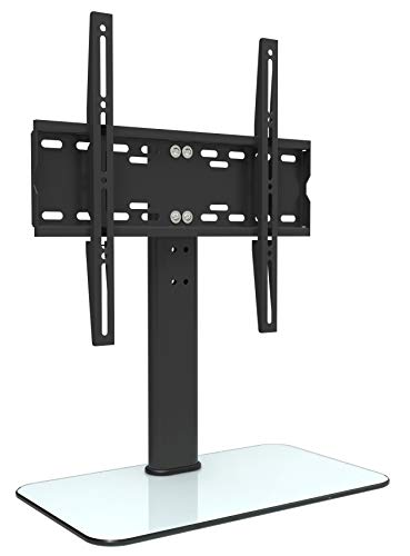 RICOO Meuble TV Design FS304W Support sur Pied en Verre Suspension LED LCD Plasma QE OLED 3D 4K Smart Socle de Tele écran Suspendu Original téléviseurs Rack VESA 400x400 Universel Hauteur réglable