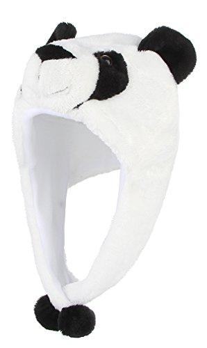 Y-BOA Bonnet Chapeau Ski Peluche Animaux Adulte Enfant 60*18CM Automne Hiver Déguisement (Blanc panda)