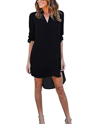 Yidarton Damen Tunika Chiffon Blusen Sommer Oberteile Kleider Casual V-Ausschnitt Dünne Langarm Loose Shirt Longshirt, Schwarz - XL