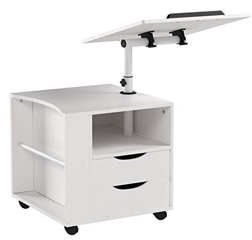 Emall Life funktioneller drehbarer Nachttisch aus verstellbarem Holz mit Schubladen, Rädern und offenem Regal (weiß)