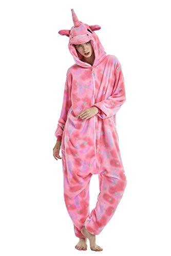 Mystery&Melody Süßes Einhorn Overalls Jumpsuits Pyjama Fleece Nachtwäsche Schlaflosigkeit Halloween Weihnachten Karneval Party Cosplay Kostüme für Unisex Kinder und Erwachsene (XL, Pink-Star)