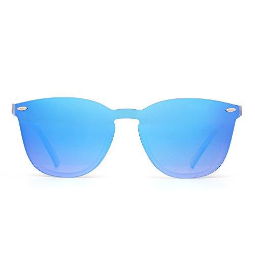 JIM HALO Randlos Sonnenbrille Ein Stück Spiegel Reflektierend Brille für Damen Herren(Matt Transparent/Spiegel Gradient Blau)