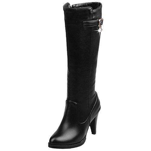 HooH Damen Halbschaft Stiefel Winter Matt High Heel Reißverschluss Knie hoch Stiefel Schwarz 44 EU (High Boots Pu Black Knee)