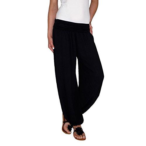 Dresscode-Berlin DB Damen Leichte Baumwoll Sommerhose mit Wasserfallbund in Taupe, schwarz, beige und Khaki (One Size, Schwarz)