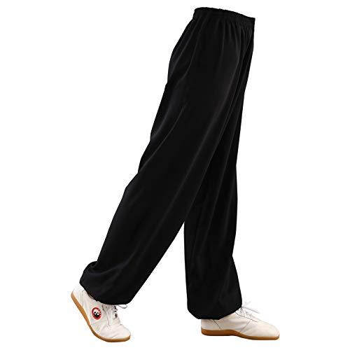 TAI CHI Chinesische Kampfsport Training Hose Kung Fu Qigong Shaolin Hose Herren Yoga Pilates Hose Damen,Black-XL