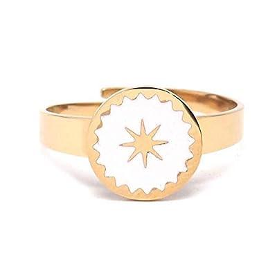 Bague étoile Emaillée blanc ou noir en acier inoxydable doré - Motif étoile noir ou blanc - Forme ronde - Ajustable