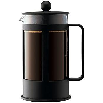 Bodum 1788-01 - Kenya - Cafetière à Piston - 8 Tasses - 1 L - Noir