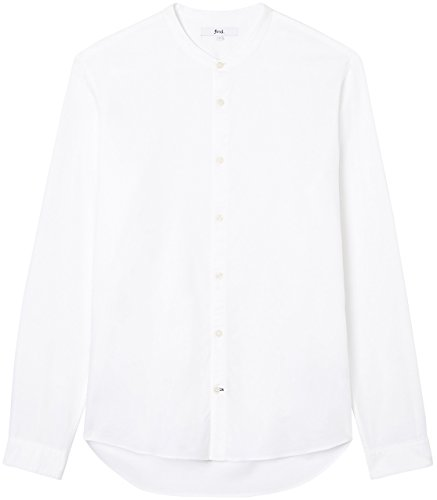 FIND Hemd Herren Slim Fit mit Stehkragen Weiß (White)