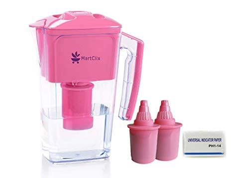 Alkalischer Wasserfilter Krug mit 2,5 L Krug Kaufen Sie 1 Trinkwasser Ionisator Filter / Wasserfilter, erhalten 2 Ersatz Wasserfilter Krüge & 100 Einstellen PH 1-14 Teststreifen Kostenlos. (rosa)