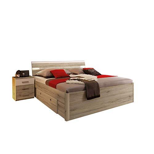 Avanti trendstore - fusto letto e 2 comodini in imitazione di quercia san remo chiaro/bianco, ca. 185x97x205-216cm