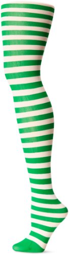 Leg Avenue 7100 - Blickdichte Ringel-Strümpfhose Kostüm Damen Karneval, Einheitsgröße, weiß/kelly grün (Grüne Strumpfhosen Adult)