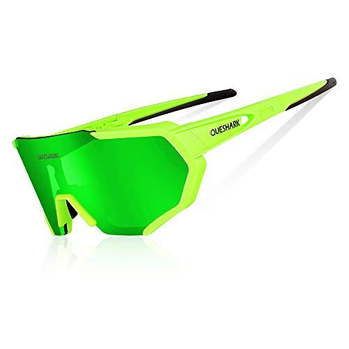 Queshark occhiali ciclismo polarizzati anti-uv con 3 lenti intercambiabili per sport (verde)