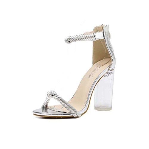 SHEO sandales à talons hauts Sandales cristallines féminines féminines été avec talons hauts Chaîne à canapé Sandales à cordes ( Couleur : Silver , taille : 37 ) Silver
