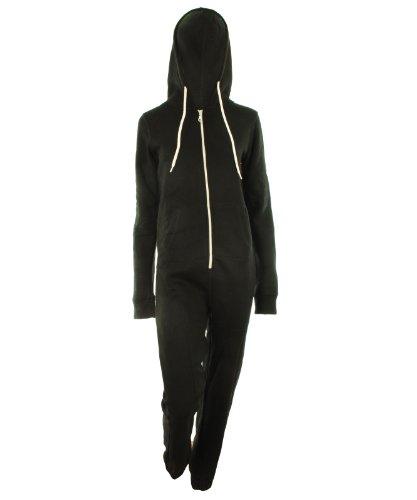 Schwarz M- 36 - Dayna Neu Damen Unisex Fleece ausgekleidet Plain Farbige Kapuzen mit Cuff Reißverschluss vorne Damen Jumpsuit Overall Onesie