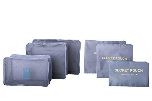 6/Set Wasserfest Kleidung Lagerung Taschen Verpackung Cubes Travel Gepäck Organizer Tasche Schwarz grau (Schuh-frisch-einsätze)