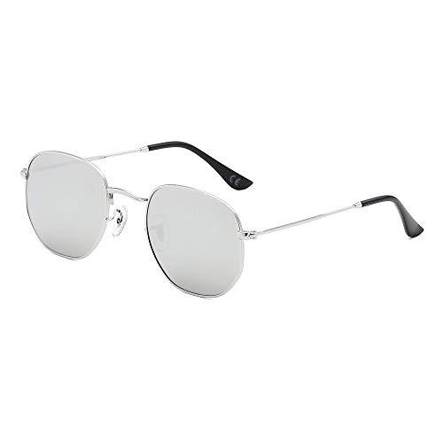 AMZTM Polarisierte Quadratische Sonnenbrille - Metallrahmen Mode Gespiegelt Gläser Fahren für Männer Frauen Revo Linse Schatten 100% UV Schutz Schatten (Silber Rahmen Silber Linse)