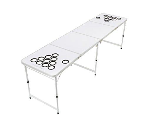 My Beer Pong Beer Pong Tisch zum selbst gestalten / Individualisieren inkl. 6 Bälle und Anti-Umkipp Funktion Weiß Gr. 244 x 61 x 76 cm -