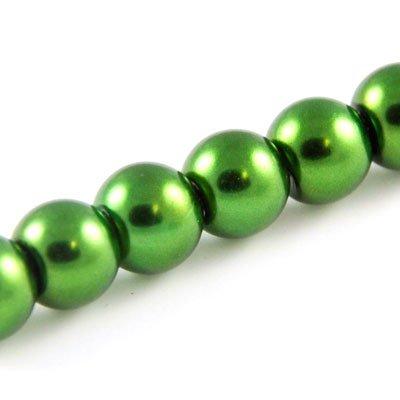 Perles rondes nacrées 6mm vert