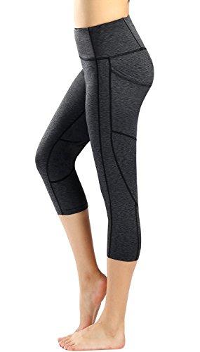 Munvot Femme Collants Pochtte Yoga Leggings Pantacourt Sport Coton Noir Taille Haute 1929-09/M