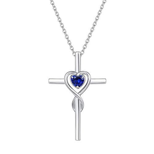 Damen Halskette mit Unendlichkeit Symbol Kreuz Anhänger Kette Infinity aus 925 Sterling Silber mit Synthetischer Saphir Edelstein Herz Form September Geburtsstein - Verstellbar Kettenlänge: 40 + 5 cm