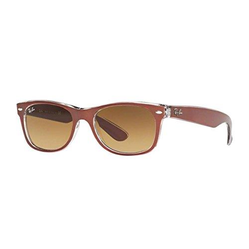 Ray-ban new wayfarer, occhiali da sole, unisex ,effetto metallo marrone trasparente bicolore (614585), 55mm