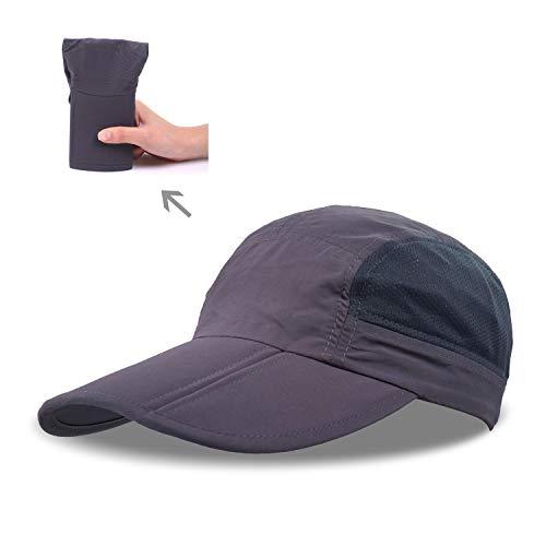 Cappellino da baseball pieghevole, cappello estivo in rete per corsa, sport all'aria aperta, escursionismo con visiera da 9cm, 48,3-61 cm, cappello regolabile unisex, dark grey