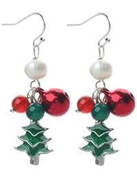 Weihnachtsschmuck Ohrringe Weihnachtsbaum / Tannenbaum mit Achat und Perlen