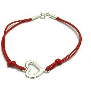 Sterling silber armband herz mit roter schnur 925 Empress jewellery