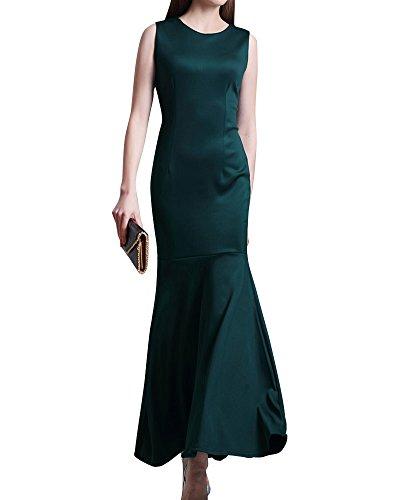 Femme Robe Longue Sans Manche En Fishtail De Soirée Cocktail Vert Foncé