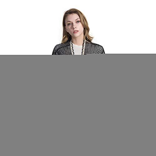 Trim Knit Cardigan (Watermk Womens 3/4 Sleeves Badeanzug vertuschen aushöhlen Herringbone gestrickt vorne offen Kimono Cardigan Top Spitze Quasten Trim lose Sunproof Schal, schwarz)