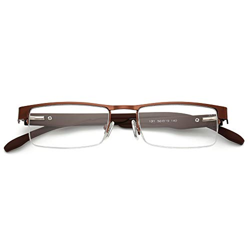 KOOSUFA KOOSUFA Metall Lesebrillen Herren Damen Klassische Halbrandbrille Stärken Breit Lesebrille Qualität Schwarz Braun Grau (1 Stück Braun, 1.0)