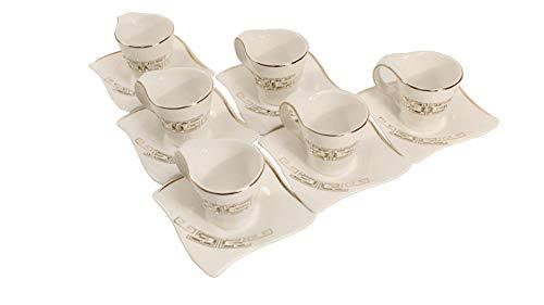 Deko-König 12-teiliges Espressoservice aus Porzellan mit Strasssteinen und Goldener Mäander Verzierung 6X Tassen 6X Unterteller