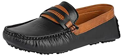 LeeGraim Men's Black and Brown Loafers - 10 UK, LEEGRI0015-10