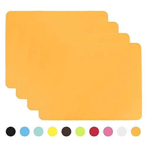Aspire - tovagliette all'americana antiscivolo, in silicone, set di 4 orange