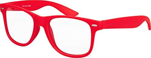 Balinco Hochwertige Nerd Sonnenbrille mit Klarglas matte Rubber Retro Vintage Unisex Brille mit Federscharnier - 17 verschiedene Farben/Modelle wählbar (Rot)