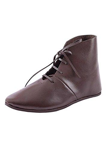 Mittelalterliche Schnürschuhe, halbhoch aus Leder - Mittelalter, Wikinger, LARP, Schuhe Schuhgröße 41 (Schuhe Mittelalterliche)