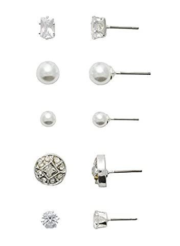 Neoglory Jewelry for Sensitive Ears Fine Silver Color Plated CZ earrings, Round CZ and Emerald Cut CZ with two sizes of pearl stud and a vintage inspired round crystal stud multiple earring