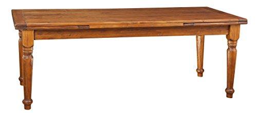Biscottini Table à rallonge en Bois Massif de Tilleul, Finition Noyer L220xPR100xH80 cm