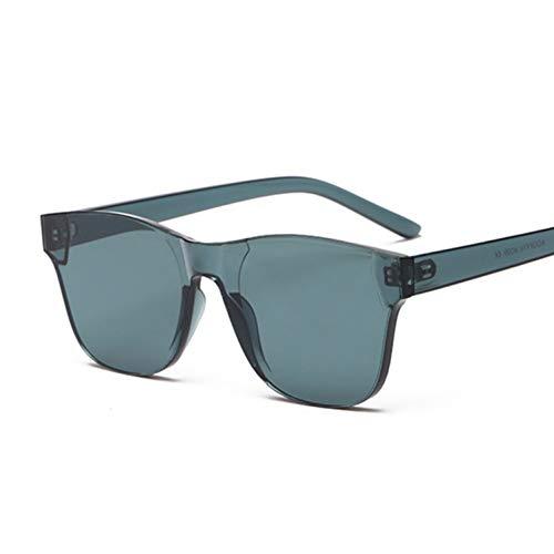 Kjwsbb Klare quadratische randlose Sonnenbrille Frauen transparente Farbe Sonnenbrille weiblichen Visier Spiegel klar gelb rosa