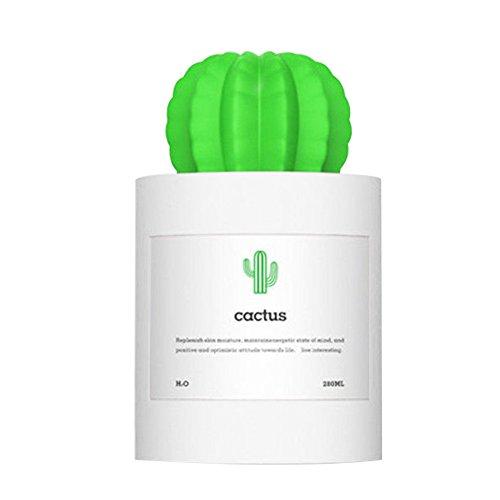 Ruby569y Humidificador de Vapor frío, Mini USB de Cactus, humidificador de Plantas, purificador de Aire para Oficina, Color Blanco