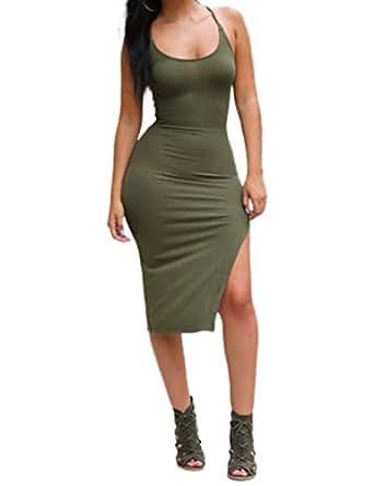 VintageRose Damen Seitenschlitz Bodycon Kleid Cocktail Kleid (L, Grün-1)