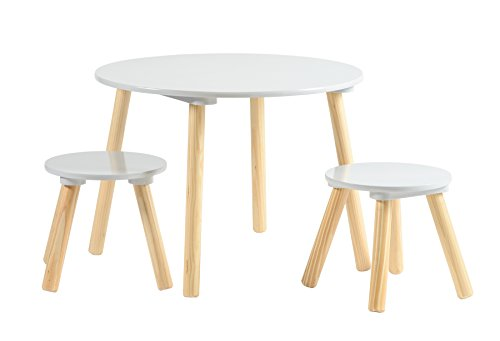 My Note Deco SAMOT Set Table+2 tabourets Gris , Bois, 60 x 60 x 44 cm