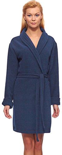Merry Style Femmes Peignoir de Bain avec Col Châle Emanuella Bleu (605)